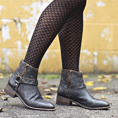 Euramerican Side Zipper Pointed Toes Low-Heel Ankle Boots