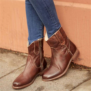 Euramerican Side Zipper Round Toes Low-Heel Ankle Boots