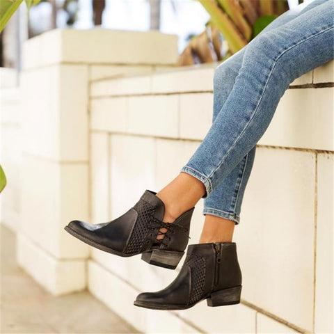 Euramerican Style Hollow Side Zipper Ankle Boots