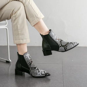 Snake Color Matching Zipper Pointed Leather Boots