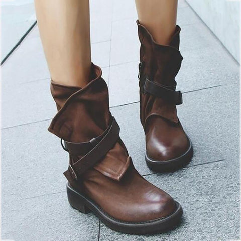 Women's European And American Fashion Retro Buckle Short Boots