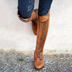 Euramerican Style Rivet Lace-Up Low-Heel Thigh-High Boots