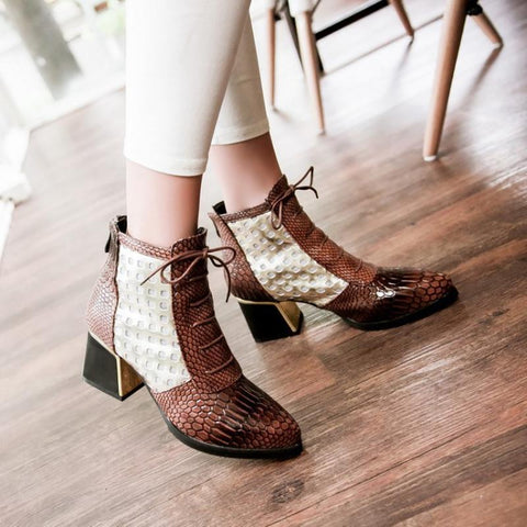 Women Snake Mesh Gauze Pointed Toe Zipper Boots