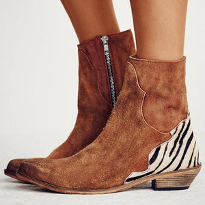 Fashion Zebra Flat Women's Boots