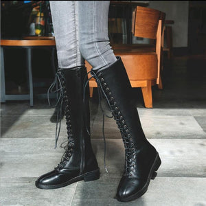 England Style Women Fashion Lace-Up Solid Color Low Heel Knight Boots