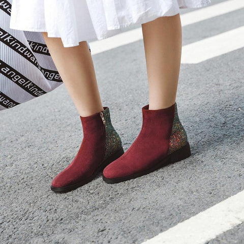 England Style Women Fashion Suede Colouring Zipper Square Toe Ankle Boots