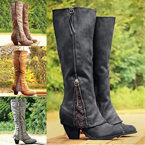 Women's Fashion Solid Color Lace Tapered Heel Long Boots