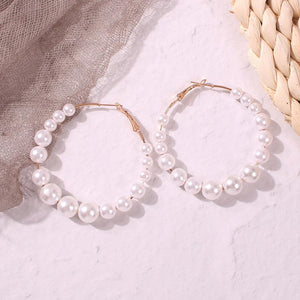 European And American Simple Pearl Round Ring Handmade Earrings