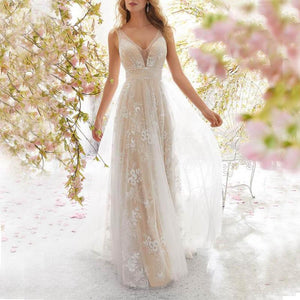 Sexy Deep V-Neck Sleeveless Lace Wedding Evening Dress