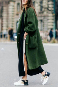 Women Solid Color Long Cashmere Coat