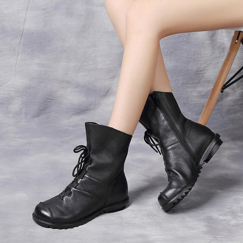 Women's Fashion Casual Leather Soft Bottom Martin Boots