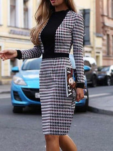 Autumn And Winter Fashion Temperament Waist Color Matching Lattice Dress Bag Hip Skirt Bodycon Dress