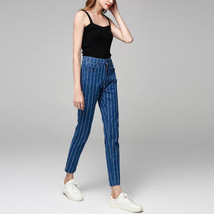 Fashion Stripe Denim Long Pants