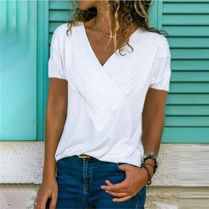 Stitching V-Neck Short-Sleeved Solid Color T-Shirt