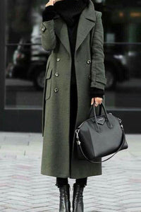 Green Trench Coat With Turn-Down Collar Elegant Wool Coat