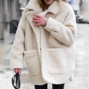 Women's casual lapel plush large pocket long coat