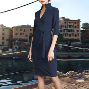 Autumn And Winter V-Neck Stand Collar Sleeves Dress Bag Hip Skirt Bodycon Dress