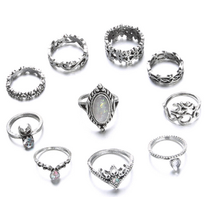 Dazzling Opal Diamond Drill 10 Piece Joint Ring Set