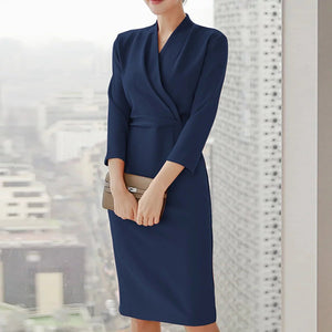 Autumn And Winter Overlap V-Neck Commuter Dress Bag Hip Skirt Bodycon Dress