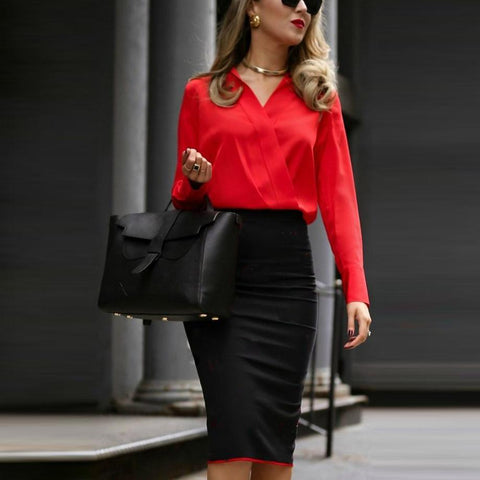 Autumn And Winter Professional Color Matching Overlap Dress Bag Hip Skirt Bodycon Dress