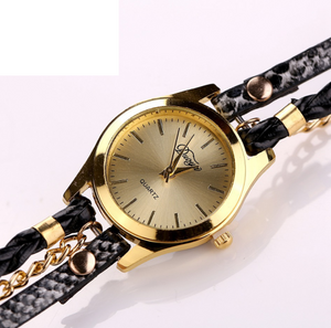 Leopard-Printed Chain Pu Weave Women's Watch