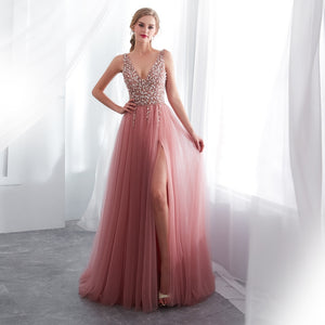 Fashion Pink Sexy Deep V Split Dress