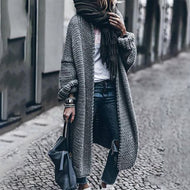Elegant Loose Crimping Sleeve Long Knit Coat