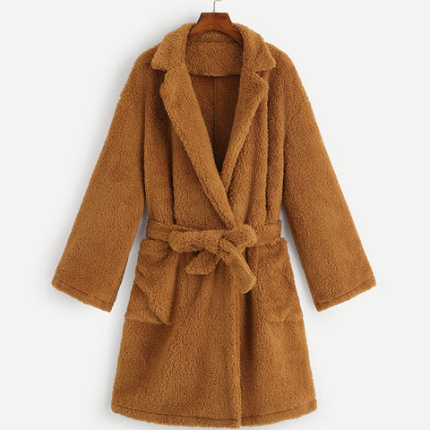 Women's Solid Colour Long Sleeve Coat