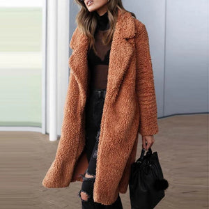 Fashion Lapel Woolen Long Coat