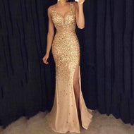 V-Neck  Side Slit  Glitter Evening Dresses