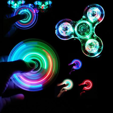 Luminous LED light Fidget Spinner Hand Top Spinners Glow in Dark Light EDC Figet Spiner Batman Finger Stress Relief Toys
