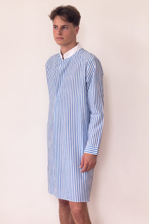 8650 NIGHT-SHIRT Broad-Stripes       100%ᴾᵁᴿᴱ COTTON Plain-weave       BLUE-White       Bretagne 1934 beach resort