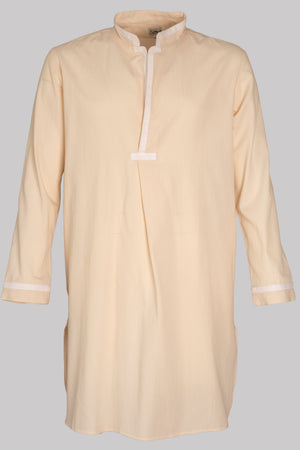 8734 NIGHT-SHIRT Colour & Tape       100%ᴾᵁᴿᴱ COTTON Herringbone-light       SHELL-White       Bretagne 1934 beach resort