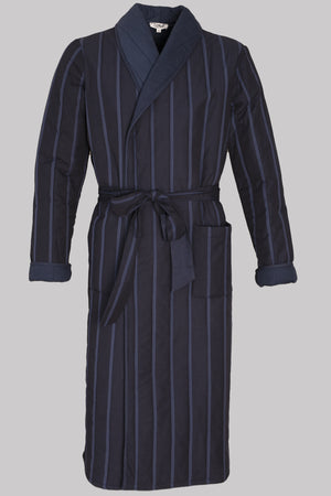 8757 DRESSING-GOWN Colour & Padded-Stripes       100%ᴾᵁᴿᴱ Indian COTTON Herringbone-THICK_Popeline_Padded       MIDNIGHT-Navy       Bretagne 1934 storm