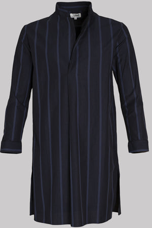 8780 NIGHT-SHIRT College-S-Stripes & Piping       100%ᴾᵁᴿᴱ Indian COTTON Popeline       MIDNIGHT-Navy       Bretagne 1934 storm