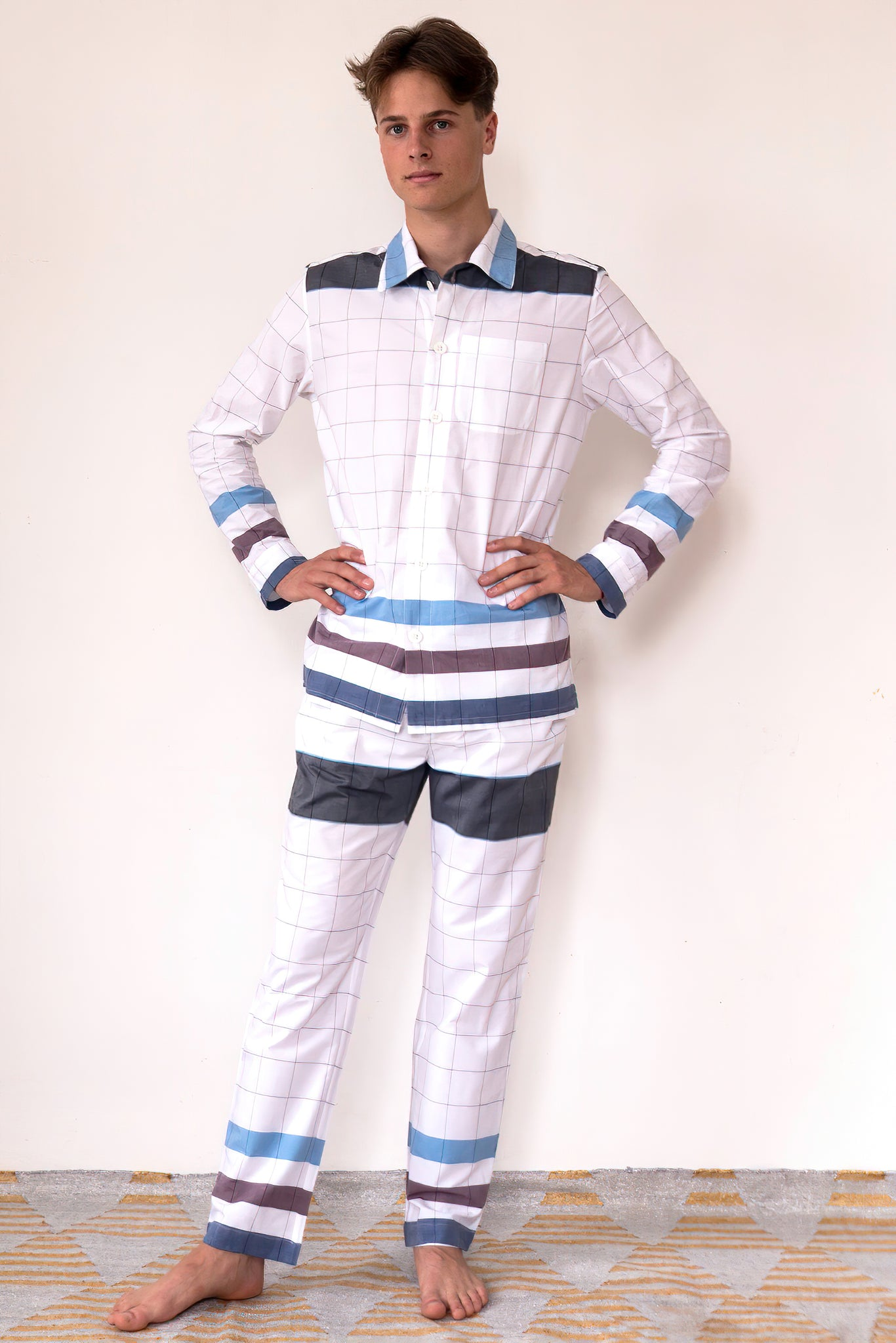 8793 PYJAMA Madras-M-Checks       100%ᴾᵁᴿᴱ COTTON Plain-weave       WHITE-Maroon-blue       Adventure Forest Ocean 1920s 1950s