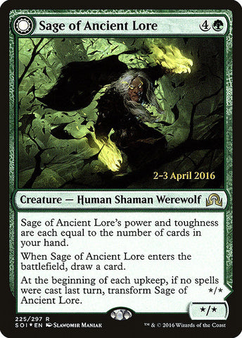 Sage of Ancient Lore // Werewolf of Ancient Hunger [Shadows over Innistrad Promos]