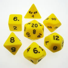7CT OPAQUE POLY YELLOW/BLACK DICE SET | Emerald Dragon Games