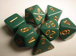 Opaque 7 Die Polyhedral Set - Dusty Green / Copper Chessex