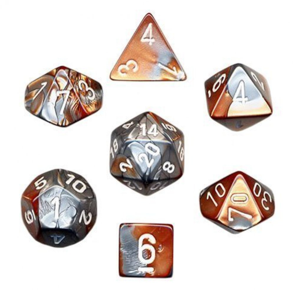 Chessex: Gemini Copper/Steel 7-Die Set | Emerald Dragon Games