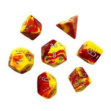 Chessex Polyhedral 7-Die Gemini Dice Set: Red & Yellow with Silver | Emerald Dragon Games
