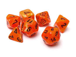 Chessex Signature Polyhedral Dice Set Vortex Orange/Black