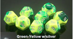 7CT GEMINI POLY DICE SETGREEN-YELLOW WITH SILVER