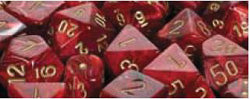 7CT VORTEX POLY DICE SET, BURGUNDY/GOLD
