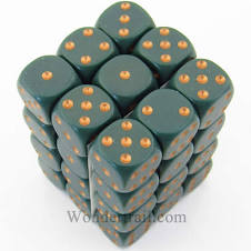 CHX 25815: 12mm D6 36ct Dice Block: Opaque Dusty Green/copper