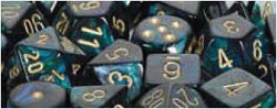 D6 -- 12MM SCARAB DICE, JADE/GOLD, 36CT