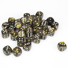D6 -- 12MM LEAF DICE, GOLD/SILVER, 36CT