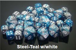 D6 -- 12MM GEMINI DICE STEEL-TEAL WITH WHITE; 36CT