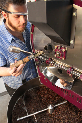 Roasting Coffee Beans at Hugo Coffee Benefiting Dogs