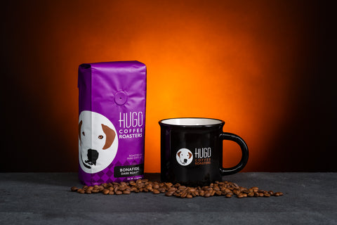 Bonafido Dark Roast Coffee and Mug at Hugo Coffee Benefiting Dogs